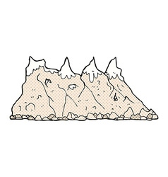 Comic cartoon mountain range vector