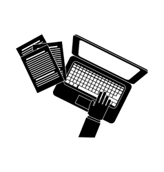 Computer and hands topview icon image vector
