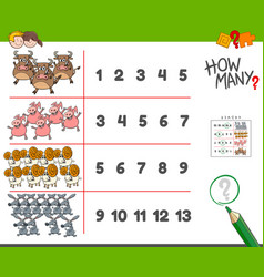 Counting task with farm animals cartoon vector