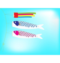 Couple Koi Flag hanging on a line in blue sky vector