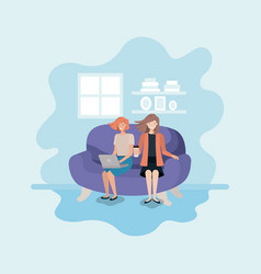 couple of women in living room using technology vector image