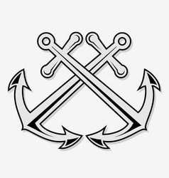 Crossed nautical anchors icon vector