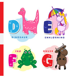 Danish alphabet dinosaur unicorn frog vector
