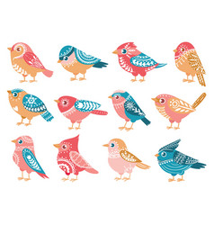 decorative birds hand drawn bird with folk vector image