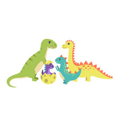 Dinosaurs collection and egg vector