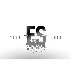 Es e s pixel letter logo with digital shattered vector