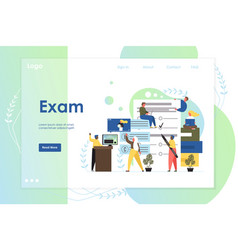 exam website landing page design template vector image