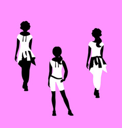 fashion woman free style model silhouettes vector image
