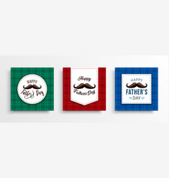 father day card set plaid backdrop and mustache vector image
