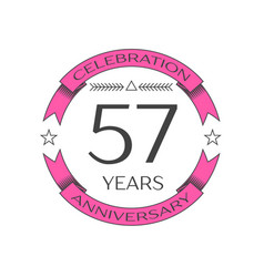 fifty seven years anniversary celebration logo vector image