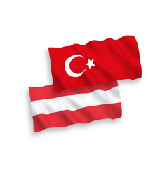 Flags turkey and austria on a white background vector