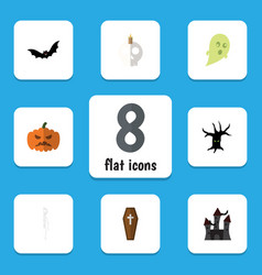 Flat icon halloween set of cranium fortress vector