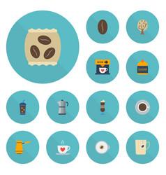 Flat icons sweetener package latte arabica bean vector