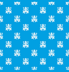 frog pattern seamless blue vector image