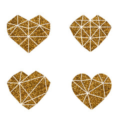 gold glitter heart polygonal symbol on a white vector image
