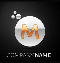 gold letter m logo silver dots splash and bubble vector image