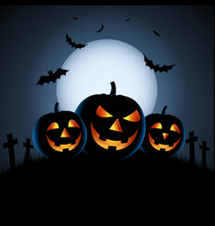 Halloween blue night poster with grinning pumpkins vector