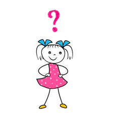 hand drawn cartoon girl thinking with question vector image