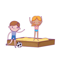 happy children day boy with soccer ball and girl vector image