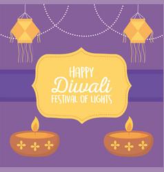 happy diwali festival hanging lanterns and diya vector image