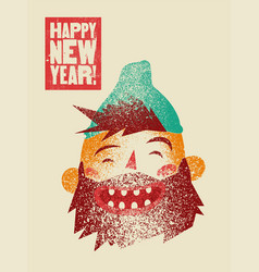 Happy new year card with cartoon laughing man vector