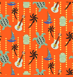 Hawaii beach orange seamless pattern vector