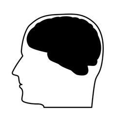 Head with the brain black icon vector