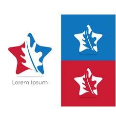 herbal logo pharmacy icon leaf in star vector image
