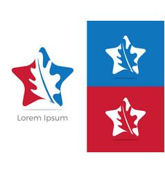 Herbal logo pharmacy icon leaf in star vector