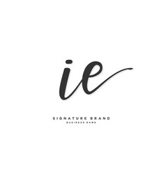 I e ie initial letter handwriting and signature vector