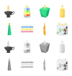 isolated object of relaxation and flame icon set vector image