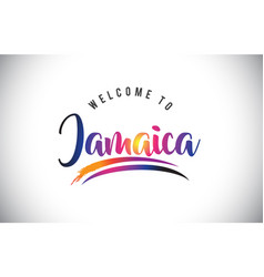 Jamaica welcome to message in purple vibrant vector