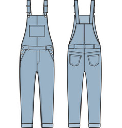 Jean overalls front and back vector