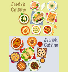 jewish cuisine kosher food icon for menu design vector image