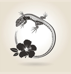Lizard and hibiscus vector