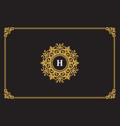 Luxury vintage ornament logo monogram crest vector