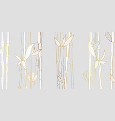 luxury wallpaper design with golden bamboo vector image
