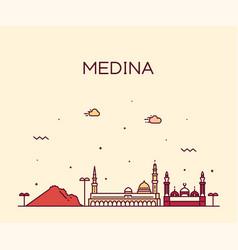 medina skyline saudi arabia linear style vector image