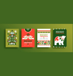 merry christmas scandinavian folk art card set vector image