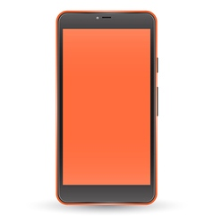Modern orange color touchscreen cellphone vector