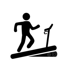 monochrome pictogram with man in treadmill vector image