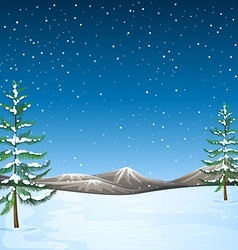Nature scene with snow falling at night vector