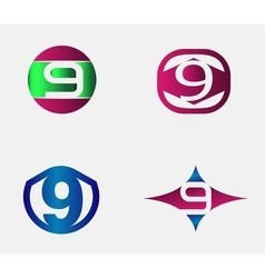 Number nine logo template Abstract icon vector