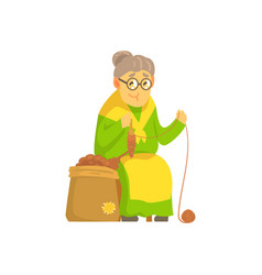 old lady spinning ball of wool vector image