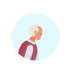 old man profile avatar elderly grandfather vector image