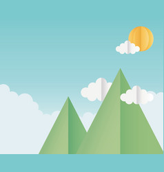 origami paper mountains clouds sun sky background vector image