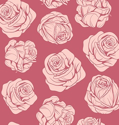 Pattern flowers pink roses vector