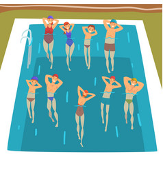 People doing water aerobics exercises in swimming vector