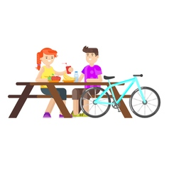 Picnic people cyclist isolated vector