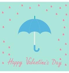 Pink heart rain with blue umbrella Flat design vector image